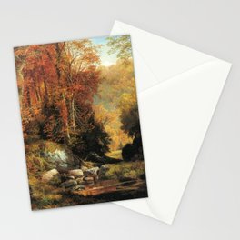 Cresheim Glen Wissahickon Autumn 1864 1 By Thomas Moran | Daytime Hike Watercolor Reproduction Stationery Cards