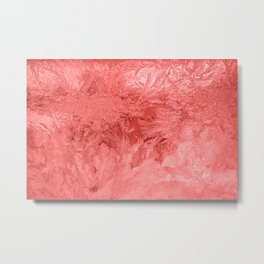 Abstraction Ice Pattern Background Red Metal Print