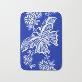 Sapphire Blue Lace Butterflies Bath Mat
