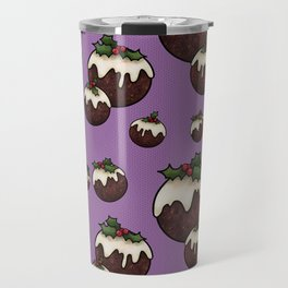 Christmas Pudding Feast with Holly and Berries, Purple Travel Mug