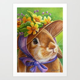 Bunnies and Bonnets No. 2 Art Print
