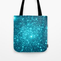 turquoise Tote Bags featuring Turquoise Teal Sparkle Stars by WhimsyRomance&Fun