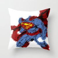 man of steel Throw Pillows featuring Man Of Steel by alsalat