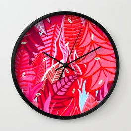 Pink Plants Wall Clock