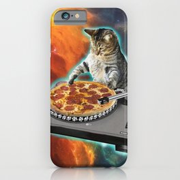 Cat dj with disc jockey's sound table iPhone Case