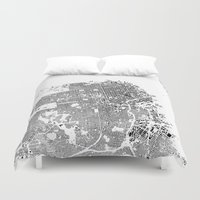 san francisco map Duvet Covers featuring San Francisco Map Schwarzplan Only Buildings by City Art Posters