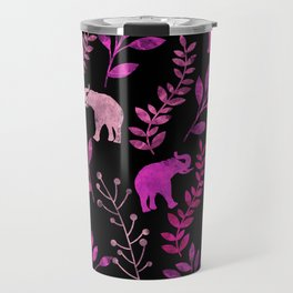 Watercolor Flowers & Elephants III Travel Mug