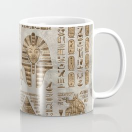 Egyptian hieroglyphs and deities -Vintage Gold Coffee Mug