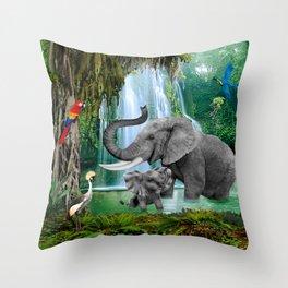 ELEPHANTS OF THE RAIN FOREST Throw Pillow