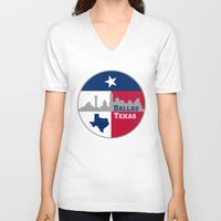 dallas V-neck T-shirts featuring Dallas Texas Skyline by Bruce Stanfield