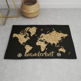 world map gold black wanderlust Rug