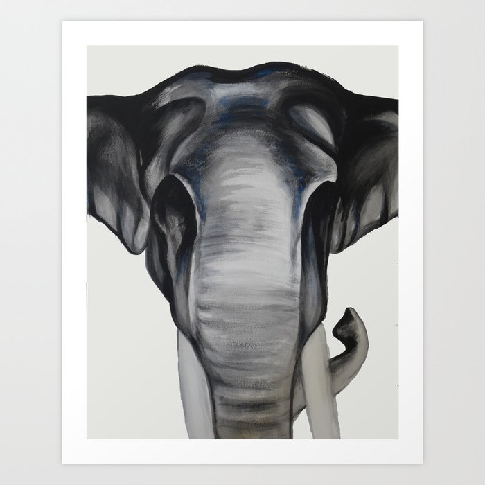 Black and white elephant painting art print