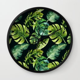 Watercolor Botanical Green Monstera Lush Tropical Palm Leaves Pattern on Solid Black Wall Clock