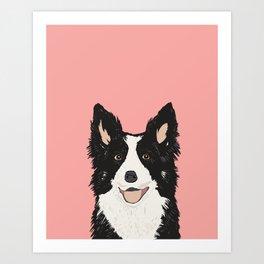 Border Collie pet portrait pink background dog lover art gifts Art Print