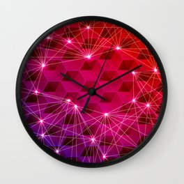 Gradient Purple Red Orange Hexagons Connected by White Nodes and Lines Wall Clock