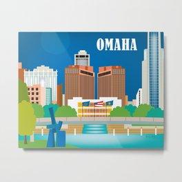 Omaha, Nebraska - Skyline Illustration by Loose Petals Metal Print