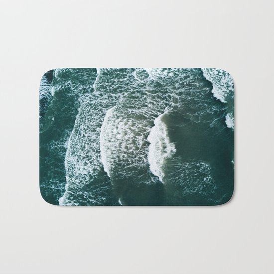 Wavy Waves on a stormy day Bath Mat