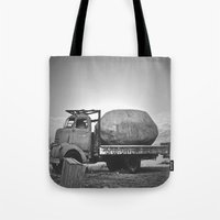potato Tote Bags featuring Spud Potato by Jane Lacey Smith