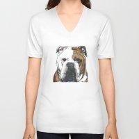 english bulldog V-neck T-shirts featuring English Bulldog  by ali_grace_gal