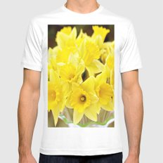 Daffodils MEDIUM White Mens Fitted Tee