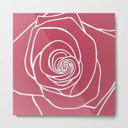 French Rose Drawing Metal Print