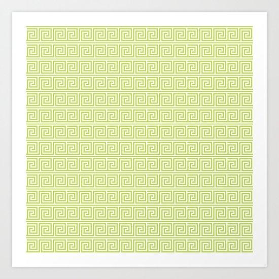 Lime Green Greek Key Pattern  Art Print