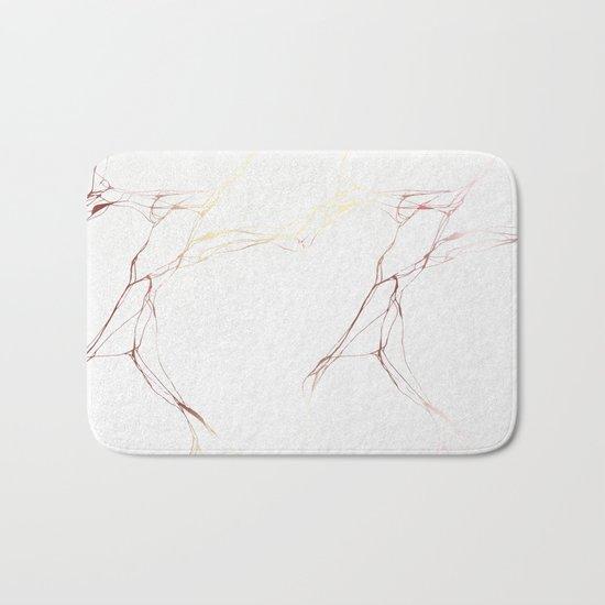 Rose Gold White Marble Pattern Bath Mat