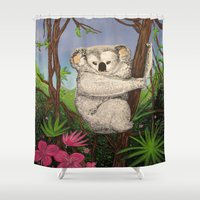 koala Shower Curtains featuring Koala by Adamzworld