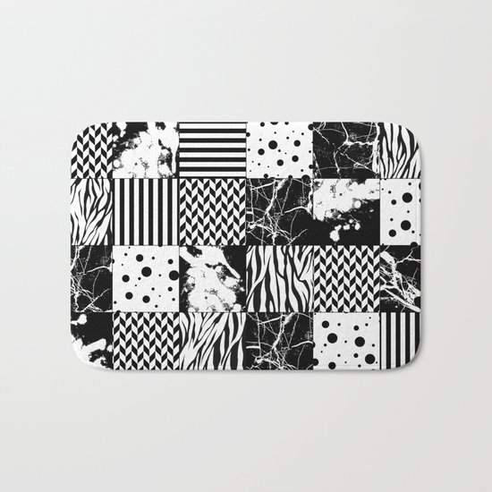 Eclectic Black and White Squares Bath Mat