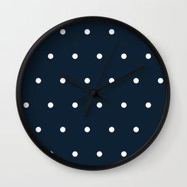 Navy Blue and White Polka Dots Pattern Wall Clock