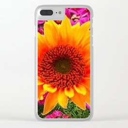 ABSTRACT GOLD SUNFLOWER FLOWERS ART Clear iPhone Case