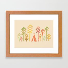 Tepee in the forest Framed Art Print