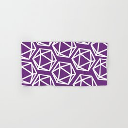 D20 Pattern - Purple & White Hand & Bath Towel