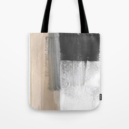 Beige and Grey Colorblock Textured Abstract Painting Tote Bag