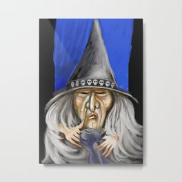 Witch and Cat Metal Print