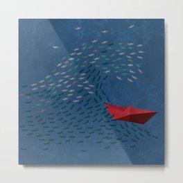 Origami Wave Metal Print
