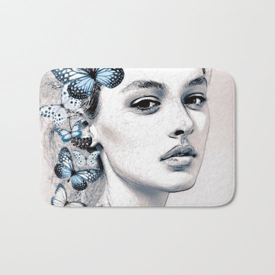 Woman with butterflies 2 Bath Mat