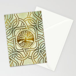 Golden Tree of life  -Yggdrasil on vintage paper Stationery Cards