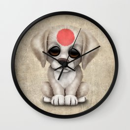 Cute Puppy Dog with flag of Japan Wall Clock