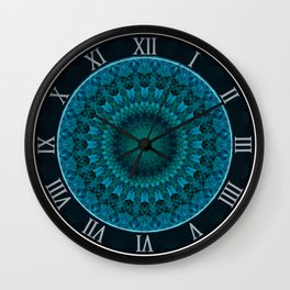 Light green and blue mandala Wall Clock