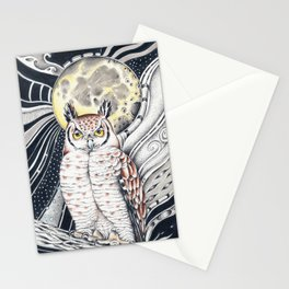 Owl Moon Mystical Ink Art Stationery Cards