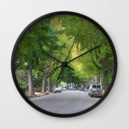 Old Tree Lined Neighborhood end of Summer Wall Clock