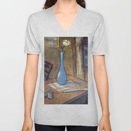 Flower in Blue Vase Pastel Art Unisex V-Neck