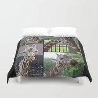 giraffes Duvet Covers featuring Giraffes  by grapeloverarts