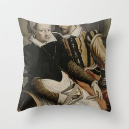 Pieter Pietersz I - Man and Woman at a Spinning Wheel Throw Pillow