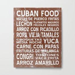Cuban Food Word Food Art Poster (Brown) Metal Print
