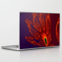will graham Laptop & iPad Skins featuring glowing hand of mark c. graham by donphil