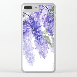 Purple Wisteria Flowers Clear iPhone Case