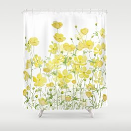 yellow buttercup flowers filed watercolor  Shower Curtain