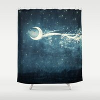river Shower Curtains featuring Moon River by Paula Belle Flores